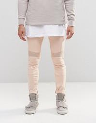 Розовые супероблегающие джинсы с байкерской отделкой ASOS