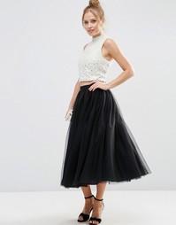 Многослойная юбка для выпускного из тюля ASOS - Черный