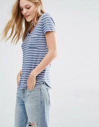 Свободная полосатая футболка с V-образным вырезом Abercrombie & Fitch