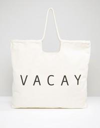 Пляжная сумка с ручками из веревки Monki Vacay - Кремовый
