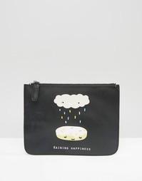 Кошелек для монет с принтом в виде облаков Monki - Черный