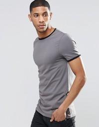 Серая удлиненная футболка с контрастной горловиной и манжетами ASOS