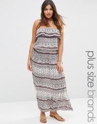 Платье макси с вырезом в стиле бандо и платочным принтом Diya Plus