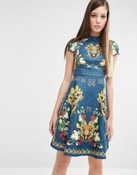 Короткое приталенное платье с принтом и заклепками Comino Couture
