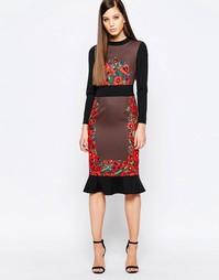 Платье миди с оборкой по краю и принтом Comino Couture