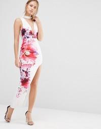 Платье миди с глубоким вырезом спереди и высоким разрезом Ginger Fizz