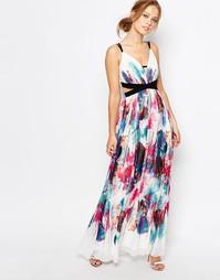Платье макси с вырезами и разноцветным принтом Little Mistress