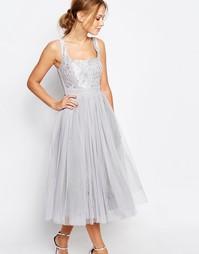 Платье миди из тюля с кружевом Little Mistress - Серебристо-серый