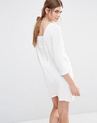 Цельнокройное платье с решетчатой вставкой сзади See U Soon - Бежевый