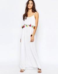 Пляжное платье макси с помпонами Akasa - Белый