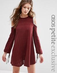 Платье с открытыми плечами и кисточками ASOS PETITE - Красный