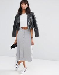 Расклешенная юбка миди с кнопками ASOS - Серый меланж