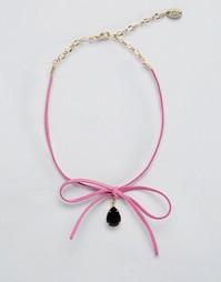Ожерелье-чокер с каплевидным кристаллом Swarovski и завязкой Krystal