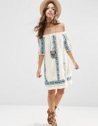Свободное платье с открытыми плечами и вышивкой ASOS PREMIUM