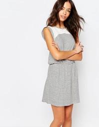 Платье в полоску с кружевной вставкой Esprit - Белый