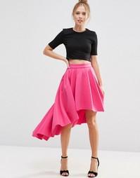 Юбка для выпускного асимметричной длины ASOS Premium - Hot pink