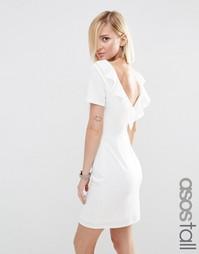 Платье миди с оборками сзади ASOS TALL - Слоновая кость