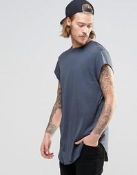 Темно-серая супердлинная футболка с короткими рукавами и закругленным Asos