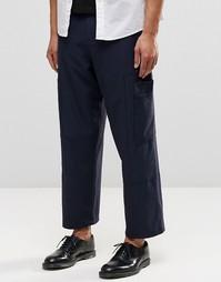 Темно-синие строгие укороченные брюки с широкими штанинами и карманами Asos