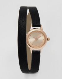 Миниатюрные часы с ремешком в два оборота ASOS - Черный