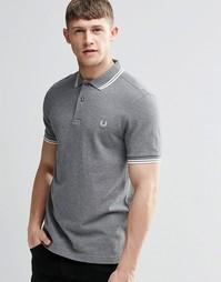 Серая футболка-поло слим с двойным кантом Fred Perry - Серый меланж