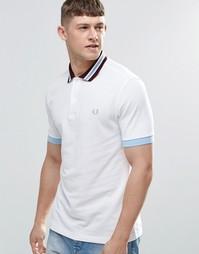 Белая футболка-поло слим с полосками Fred Perry - Белый