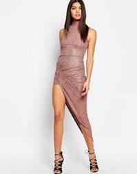 Платье в рубчик с отворотом и высокой горловиной с эффектом металлик C Club L
