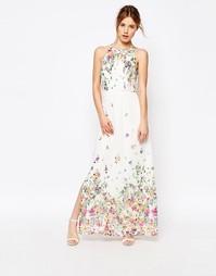 Платье-халтер макси с цветочным принтом Uttam Boutique - Кремовый