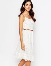 Кружевное платье с поясом Uttam Boutique - Кремовый