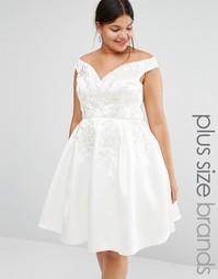 Приталенное платье для выпускного с кружевной вышивкой Chi Chi London