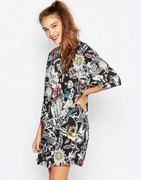 Платье-футболка большого размера с принтом Love Moschino - Чрн принт