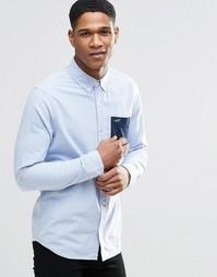 Синяя рубашка узкого кроя с контрастным карманом Hollister - Синий