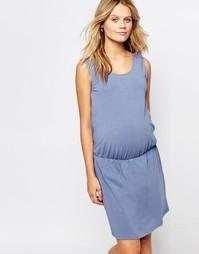Платье с вязаной вставкой кроше на спинке Mamalicious Ferm - Синий Mama.Licious