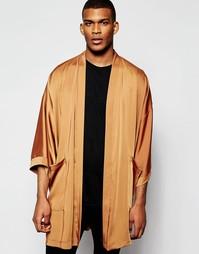 Драпированное кимоно с карманами Reclaimed Vintage - Коричневый