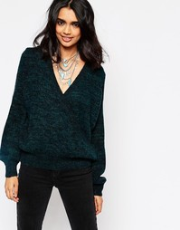 Джемпер с запахом Free People Karina - Black emerald