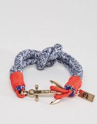 Синий тканый браслет с якорем Icon Brand - Синий