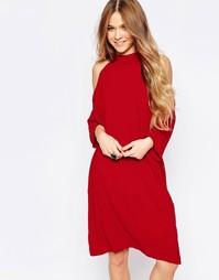 Платье миди с открытыми плечами Liquorish - Красный