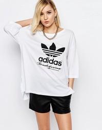 Свободная футболка с логотипом-трилистником adidas Originals - Белый