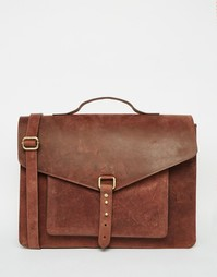 Кожаный портфель с застежкой на шпильку ASOS - Коричневый