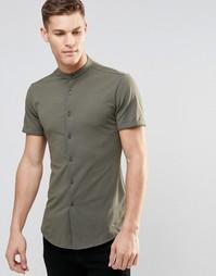 Трикотажная рубашка хаки зауженного кроя с воротником на пуговицах и к Asos