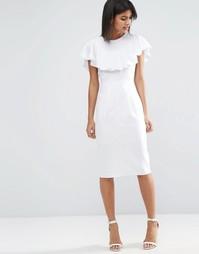 Льняное платье-футляр с оборкой ASOS - Белый