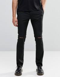Облегающие брюки с рваными коленками Religion - Черный