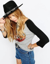 Фетровая шляпа с отделкой цепочками спереди ASOS - Черный