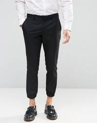 Укороченные зауженные брюки стретч с кромкой манжетом Selected Homme