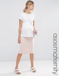 Трикотажная юбка-карандаш миди для беременных ASOS Maternity - Blush