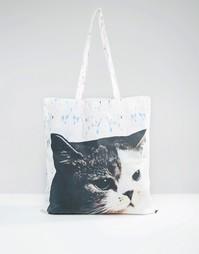 Парусиновая сумка‑шоппер с кошкой Monki - Мульти