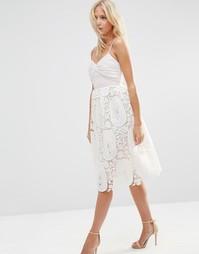 Платье для выпускного с плиссированным лифом и кружевной юбкой ASOS
