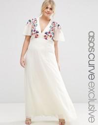 Платье макси с вышивкой крестиком ASOS CURVE - Мульти