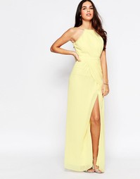 Платье макси с разрезом VLabel Temple - Желтый
