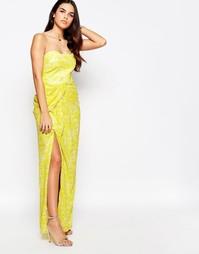 Платье макси бандо с разрезом спереди VLabel Hook - Желтый